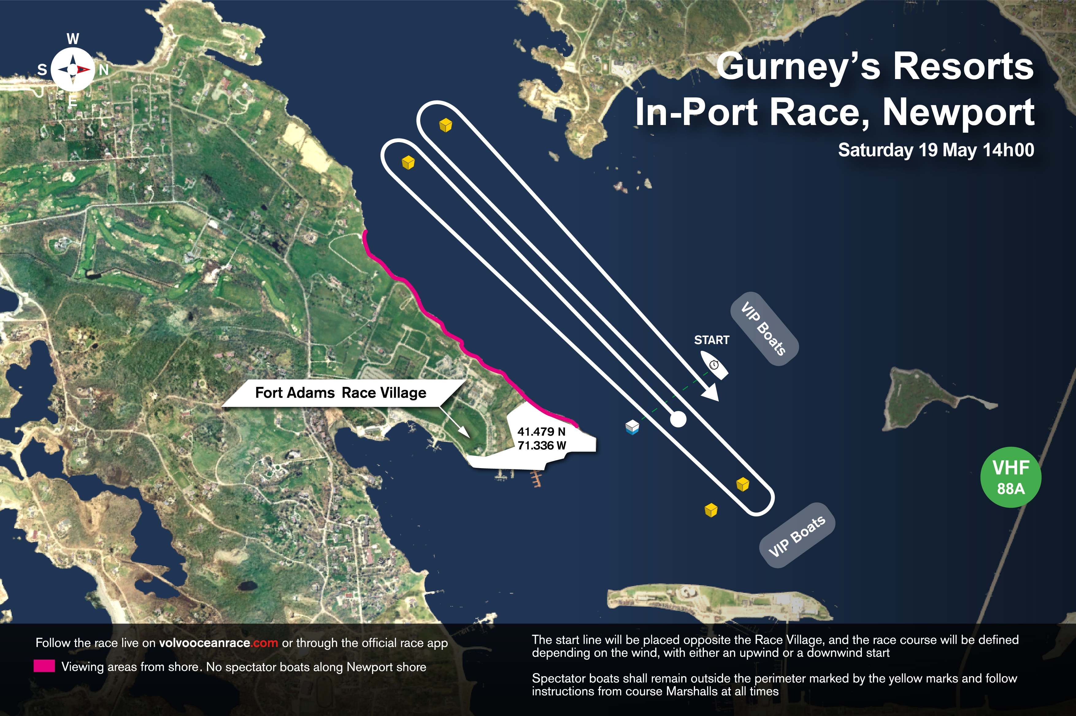 Gurney's Resorts In-Port Race course map ...